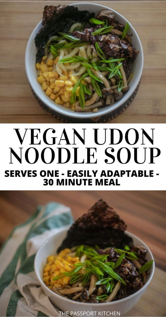 Want a delicious vegan udon noodle soup? This Japanese udon noodle soup recipe uses miso broth and vegetable bouillon, udon noodles, and veggies of choice (corn, mushrooms, radicchio in this case) with green onions and nori to make a tasty meal for one. This 30-minute meal is dead-easy, adaptable to whatever you have in your fridge, and it's my favorite back-pocket vegan Japanese recipe to pull out when I'm tired of cooking!