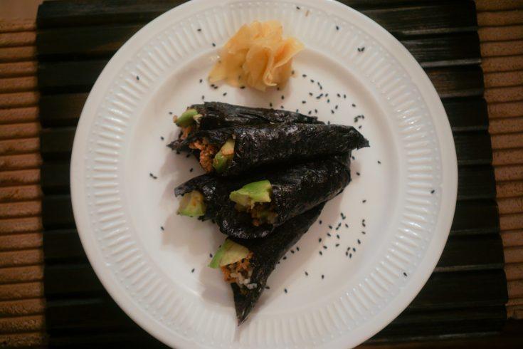 Spicy Tuna Temaki (Spicy Tuna Hand Rolls)