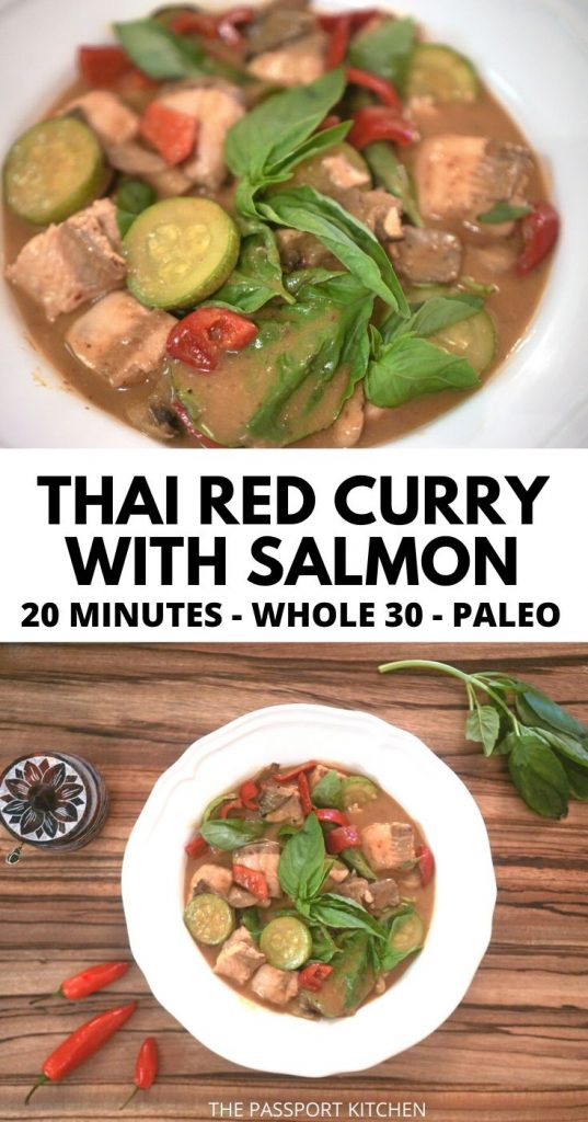 This easy Thai salmon curry can be on the table in 20 minutes! This red salmon curry with coconut milk and basil is perfect with jasmine rice or low-carb alternative. This low carb Thai salmon red curry is the perfect 20 minute meal, and it's paleo, keto, and Whole 30 friendly with minor tweaks.