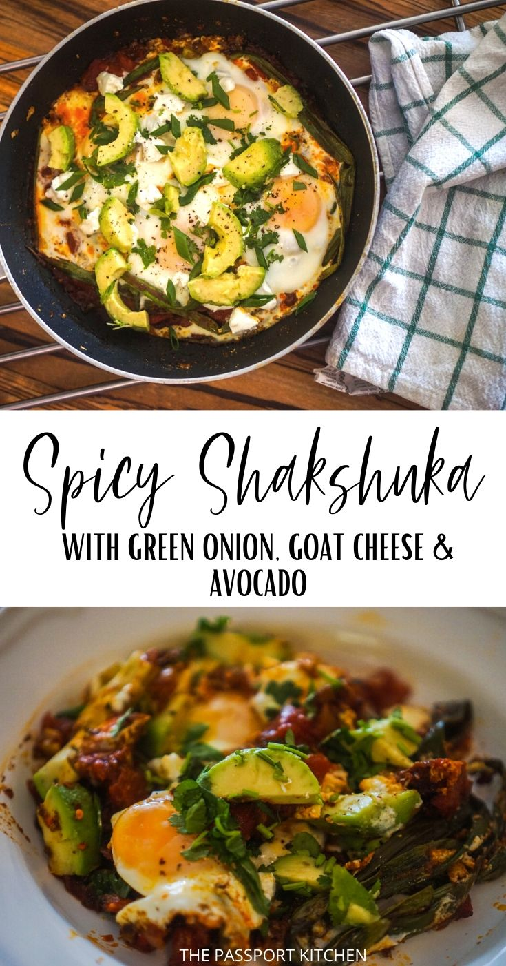This Middle Eastern inspired spicy shakshuka (shakshouka) is made with green onion, a spicy tomato sauce, poached eggs, and delicious toppings like cilantro, green onion and goat cheese! This tasty tomato poached egg dish is fabulous for breakfast, lunch, or dinner, and it's an easy 20 minute vegetarian meal -- and a budget friendly meal to boot!