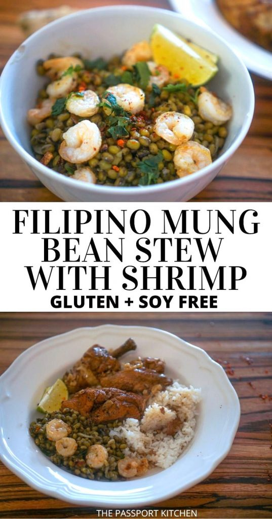 Looking for a mung bean recipe? This mung bean stew is unique and full of delicious Filipino flavors! Munggo guisado (also written mungo guisado and mongo guisado) is flavored with mung beans, coconut milk, garlic, onion, bay leaf, and it's topped with delicious shrimp! Omit the shrimp to easily make a vegan mung bean stew, or switch it up with pork if you don't like shrimp. This Filipino mung bean stew is naturally gluten-free and soy-free and is extremely budget-friendly to make!
