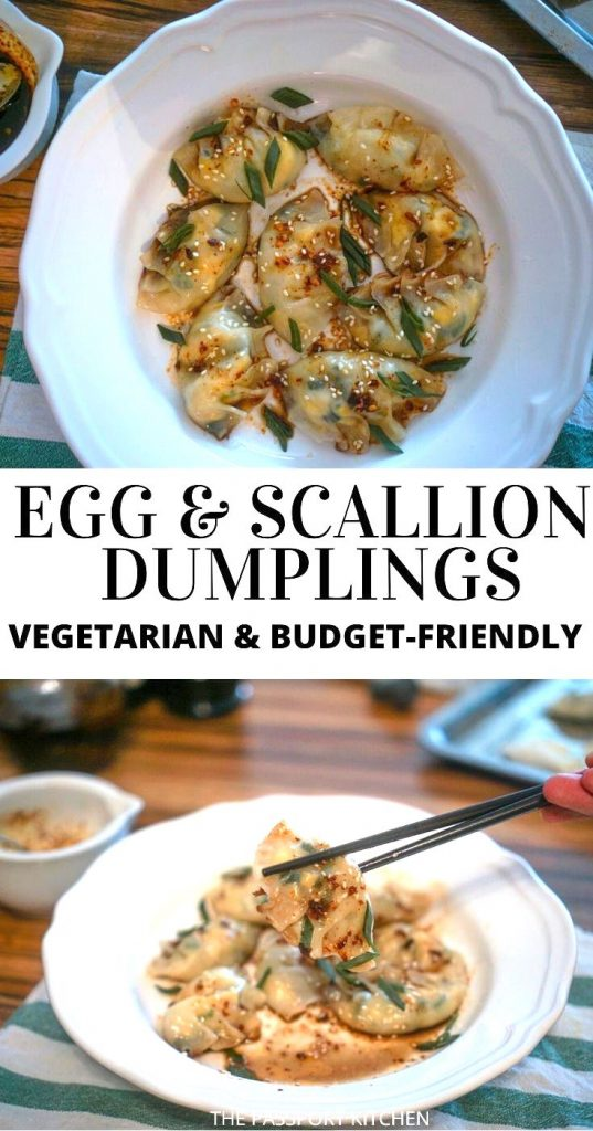 Want a different spin on traditional vegetarian dumplings? These Chinese egg and scallion dumplings will blow your mind! Three simple ingredients - egg, green onions, and vermicelli noodles - make up the filling of these vegetarian Chinese dumplings, and a spicy chili oil-soy sauce combo makes them irresistible! Simple and budget-friendly.