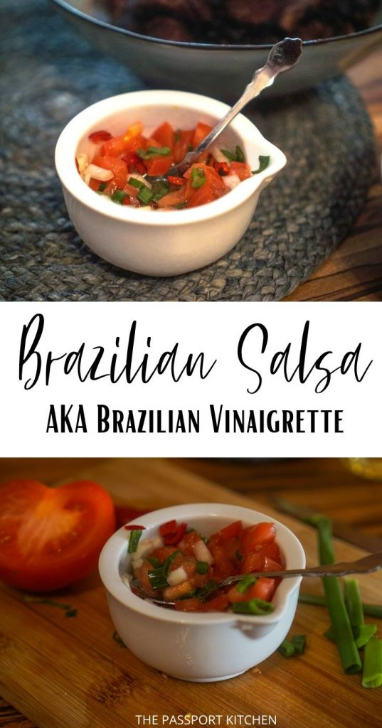 This tasty Brazilian salsa is the perfect accompaniment to your Brazilian meals! Serve with churrasco (Brazilian BBQ), feijoada, rice and beans, or more! Brazilian vinaigrette (vinagrete brasileira) is the perfect side dish for your Brazilian recipes.