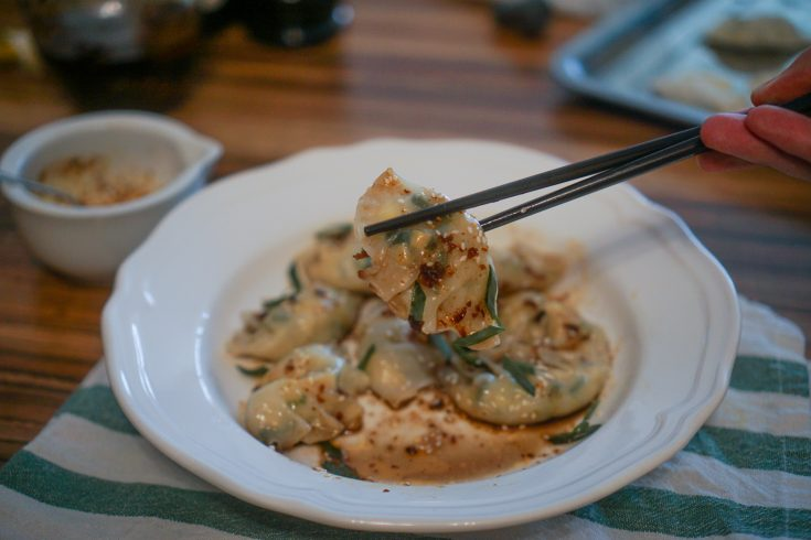 Egg and Scallion Vegetarian Dumplings