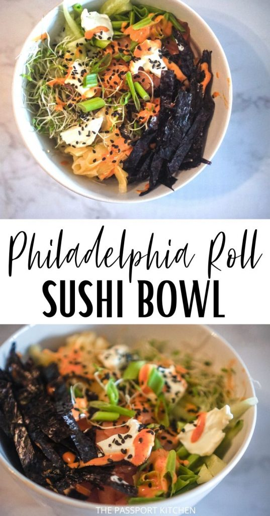 This tasty sushi bowl (similar to a poke bowl) is basically a deconstructed Philadelphia roll! With smoked salmon, cream cheese, and cucumber, this tasty Philadelphia roll sushi bowl with sriracha mayo is a gorgeous and Instagrammable treat
