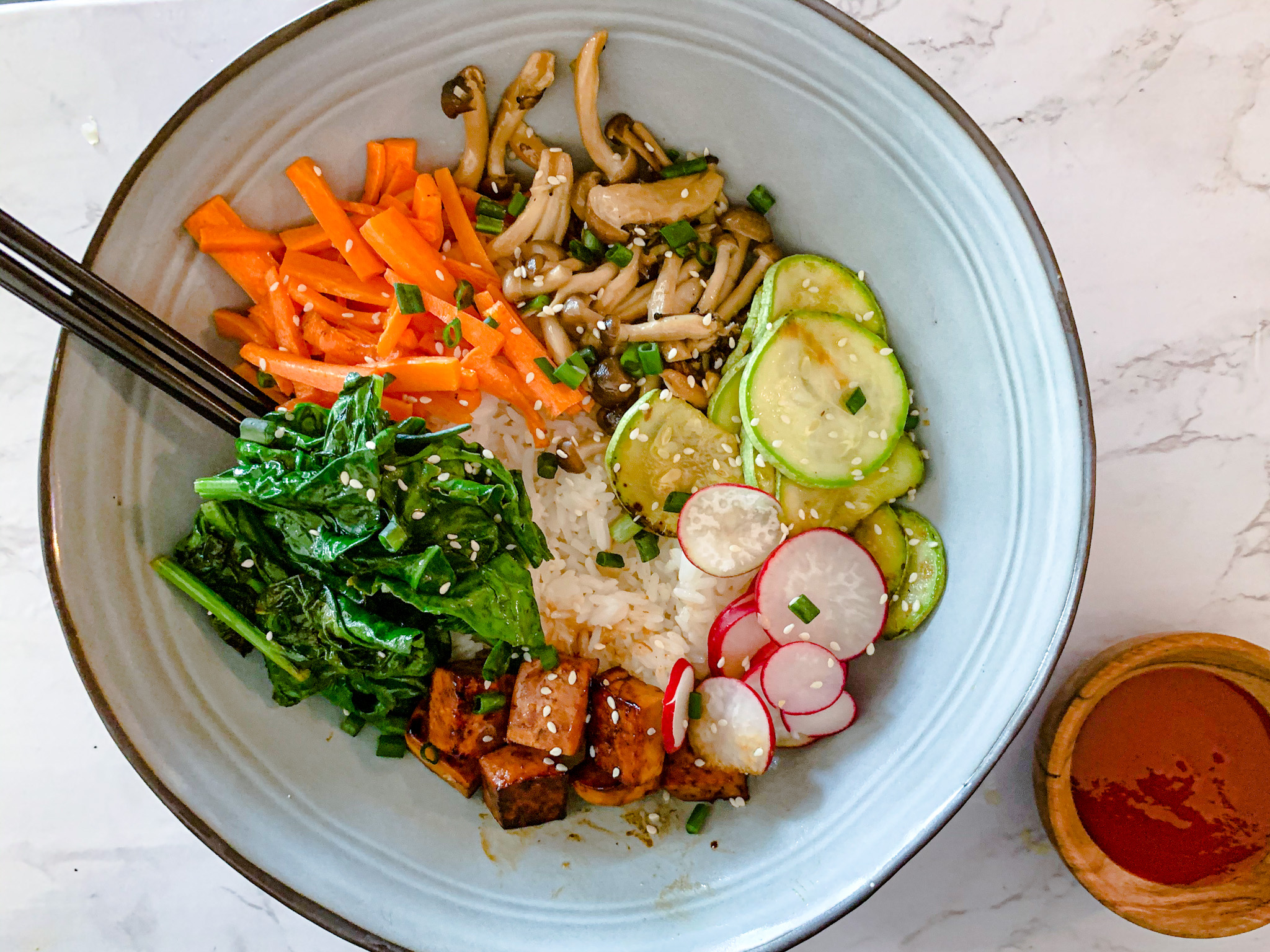 Easy Vegan Bibimbap with Tofu (Korean Rice Bowl)